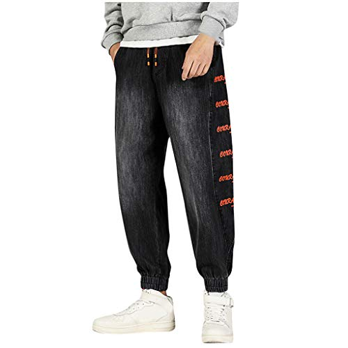 Find Bargain Men's Jogger Harem Pants | Men Plus Size Fashion Hip-Hop Relaxed Fit Slide Letter Print...