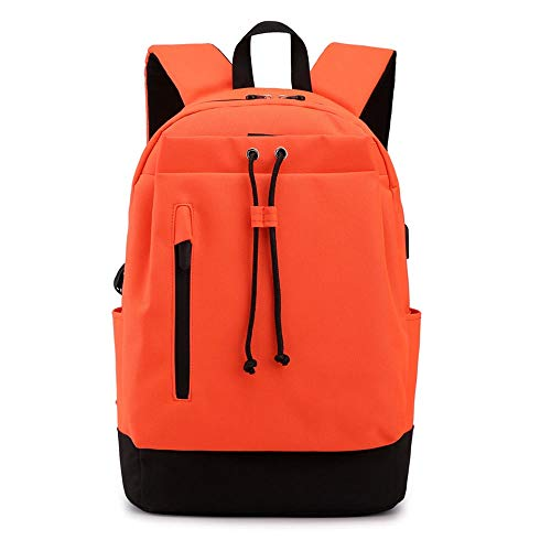 CLCCYYSJD School Backpacks for Teen Girls with USB Charging Port,Water Resistant College Bag,Leisure Student Bag Daily Bag for School, Outdoors, Sports, Fits Under 15.6 Inch Laptop (Color : Orange)