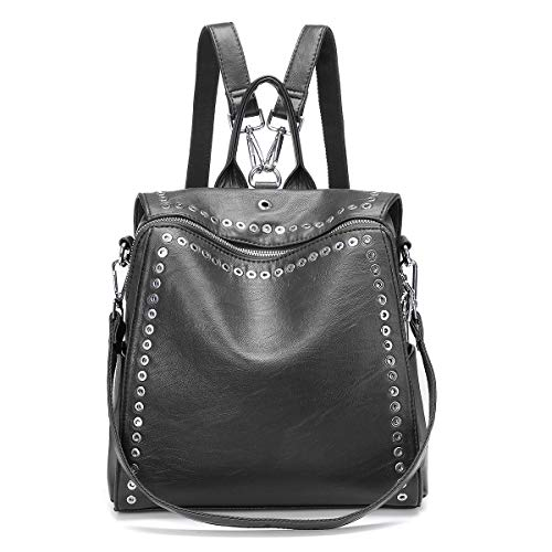 """Fashion Backpack JOSEKO Casual Rucksack with Rivet Leather Daypack Shoulder Bag for Women Gray 10.6""""x5.1""""x10.6"""""""