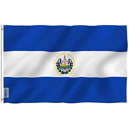 Anley Fly Breeze 3x5 Fuß EL Salvador Flagge - Lebendige Farbe und UV-beständig - Leinwand Kopf- und Doppelnaht - Salvadorianische Nationalflaggen Polyester mit Messingösen 3 x 5 Ft