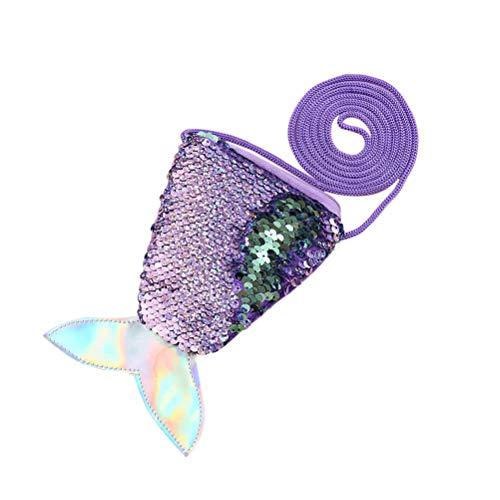 Meerjungfrau Schwanz Pailletten Geldbörse Crossbody Taschen Sling Geld Ändern Kartenhalter Geldbörse Tasche Geschenke für Frauen Mädchen (lila)
