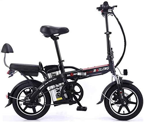 Leifeng Tower Alta Velocidad Bicicleta eléctrica Plegable de la batería de Litio de Coches en tándem for Adultos Bicicleta eléctrica Auto-conducción for Llevar 48V 350W (Color : Black, Size : 20A)