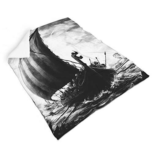 Magiböes Franela vintage vikingo barco guerrero aventura impresión psicodélica manta de sofá decoración interior blanco 130 x 150 cm