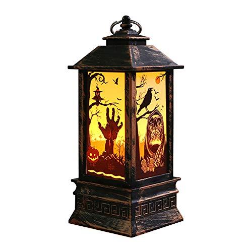 LED-Deko-Laterne mit Flamme, für Bar, Zuhause, als Requisite, Totenkopf, Hexe, Kürbis, Halloween-Party, Flammen-Effekt, Acryl, Stimmung, durchsichtig