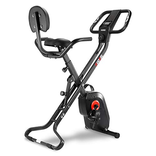 KUOKEL Indoor Exercise Bike Folding, 2020 New Fitness Bike Home Trainer with Digital Monitor, Sporting Equipment (Black)