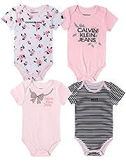 Calvin Klein Baby Girls' 4 Pieces Pack Bodysuits