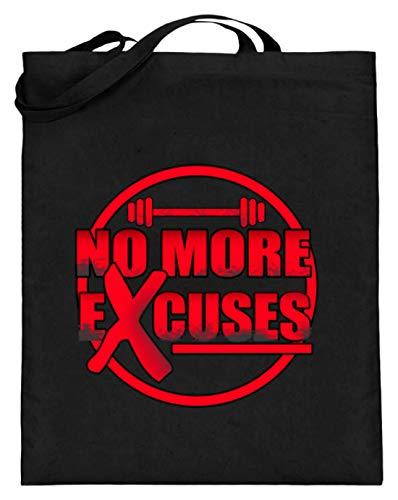 No More Excuses – Gym Training Motivation – Diseño sencillo y divertido – Bolsa de yute (con asas largas), color Negro, talla 38cm-42cm