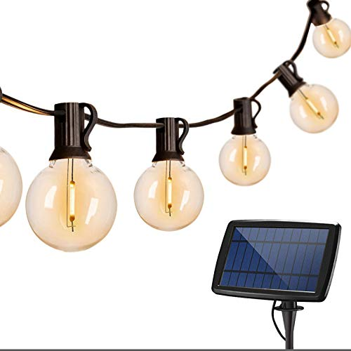 Binval G40 Globe String Lights 25Ft Solar Powered with 25 Clear LED Bulbs, Vintage Backyard Patio Lights, Hanging Indoor/Outdoor String Lights for Bistro Pergola Deckard Tents Cafe Gazebo Porch Party