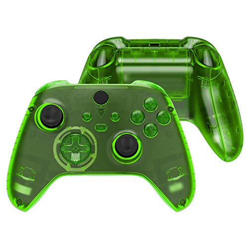 eXtremeRate Transparent Green Controller Full Set Housing Shell Case w/Buttons for Xbox Series X/S, Custom Replacement Side Rails Front Back Plate Cover for Xbox Series S & Xbox Series X Controller