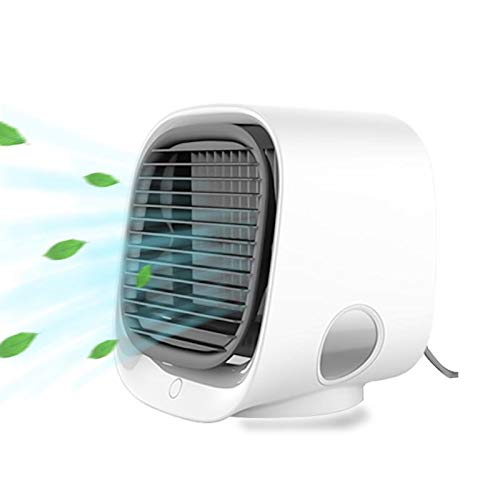 TEMI Portable Air Conditioner Fan, Personal Air Cooler,Mini Evaporative Cooler Super Quiet USB Desk Fan with Handle, Air Circulator Humidifier Misting Fan for Home, Office and Travel (White)