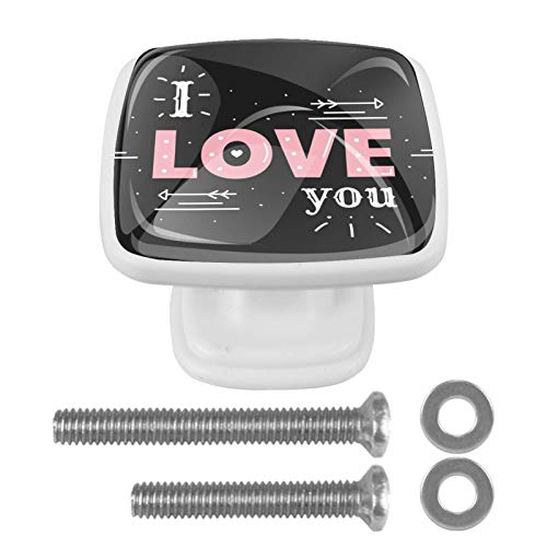 4 pomos de cristal para gabinete de 1.18 pulgadas, tiradores de cajones de cocina, tiradores de armario con tornillos para gabinetes de cocina, aparadores, armarios, armarios, I Love You