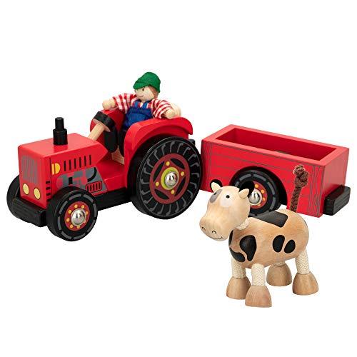 WOOMAX- Tractor de madera 33 cm (ColorBaby 43621)