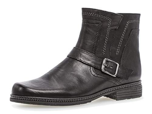 Gabor Damen Biker Boots 94.672,Frauen Stiefel,Stiefelette,Halbstiefel,Bikerstiefelette,Bootie,hoch,Blockabsatz 2.2cm,F Weite (Normal),schwarz,UK 7