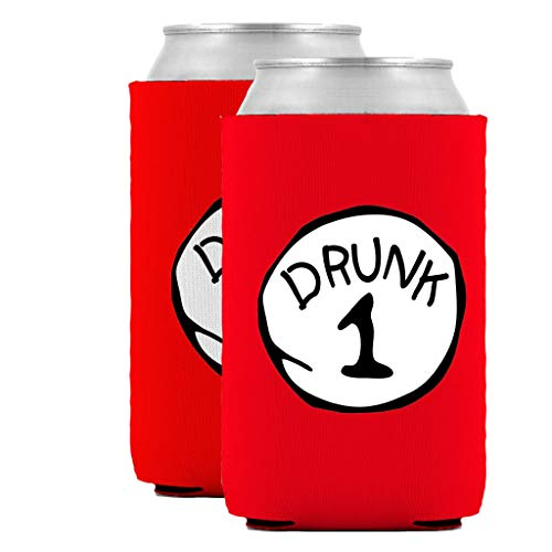 Drunk 1 Drunk 2 Can Coolies - Value Pack of Two (2) - Insulated Neoprene Can Coolie Huggie Hugger - Funny Party Beer Holders 12oz|16oz