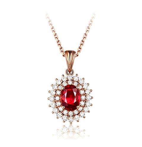 KnSam Collier Femme Fine Rubis Naturel Ovale 0.98ct Diamant Femme Classique, Or Rose 18 Carats Élégance Cadeau Noël