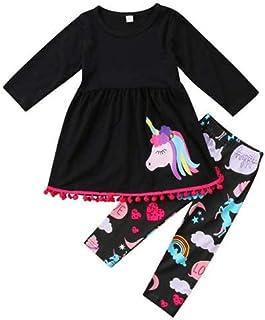 Geagodelia Abito da Bambina Unicorno 2PZ T-Shirt a Maniche Lunghe Top + Pantaloni Lunghi Leggings Set di Abiti 2-7Anni Car...