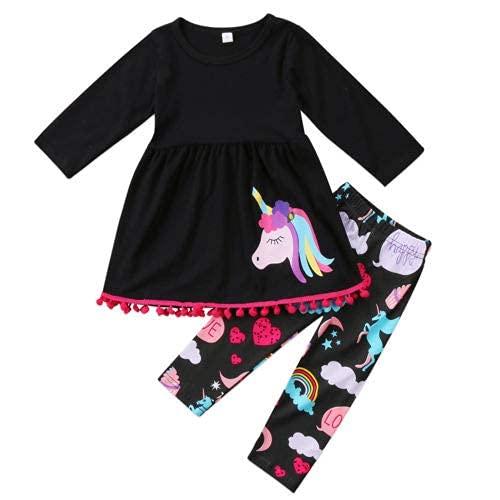 Geagodelia Abito da Bambina Unicorno 2PZ T-Shirt a Maniche Lunghe Top + Pantaloni Lunghi Leggings Set di Abiti 2-7Anni Cartoon (Nero, 6-7 Anni)