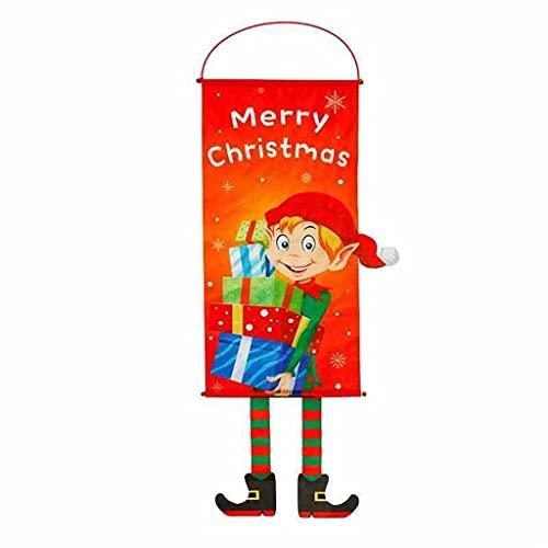 JWDYA Weihnachtstür Hängende Flagge Weihnachtsdekor for Zuhause Frohes Neues Jahr Ornamente (Color : A, Size : 115cm*40cm)