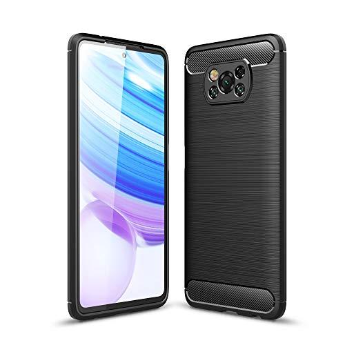 CoverKingz Funda para Xiaomi Poco X3 NFC – Silicona Teléfono Móvil Poco X3 NFC – Soft Case Carbon Colores Negro
