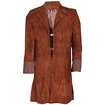 UGFashions Men s Nathan Fillion Malcolm Reynolds Brown Suede Leather Trench Coat