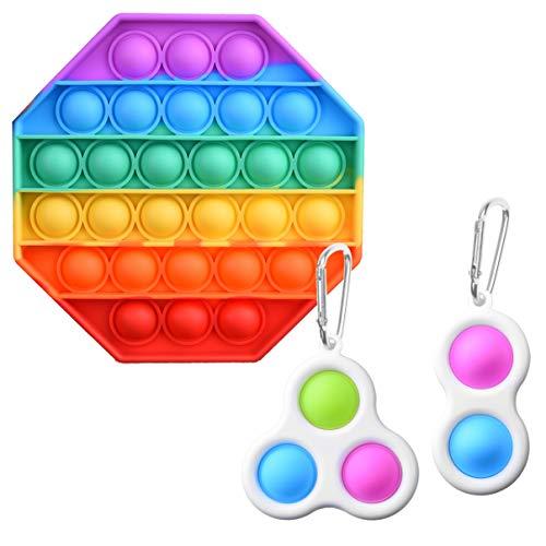 Kare & Kind 3x Sensorisches Zappelspielzeug - Regenbogenfarbenes Push-Pop-Bubble- und einfaches Grübchen-Spielzeug - Reduzieren Sie Angstzustände, bauen Sie Stress ab, erhöhen Sie den Fokus