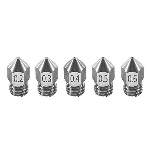 ZJYSM U00a0Supplies 5PCS Nozzle 0.2mm/0.3mm/0.4mm/0.5mm/0.6mm M6 Thread Stainless Steel for 1.75mm Filament 3D Printer