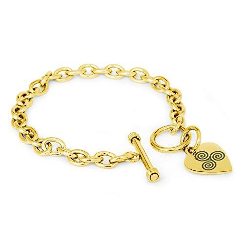 Gold Plated Stainless Steel Celtic Triskele Triskelion Triple Spiral Symbols Heart Charm, Bracelet Only