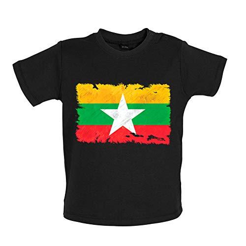 Dressdown Burma Myanmar Grunge Style Flag - Organic Baby/Toddler T-Shirt - Black - 12-18 Months