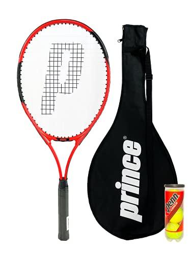 Prince Power Warrior Ti - Raqueta de tenis para adultos, incluye funda protectora con correa de transporte y 3 pelotas de tenis de Penn, tamaño de agarre L2