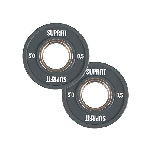 Suprfit - Mini PU Bumper Plates. Dischi in gomma per allenamento tecnico con il manubrio, peso singolo: 0,5 – 2,5 kg, anelli in acciaio di 50 mm di diametro, opzioni: singoli, coppie o set., 0,5 kg – Grigio