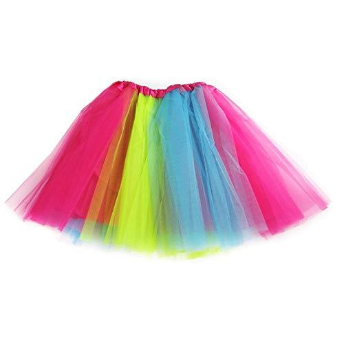 Ksnrang Gonna Tutu Donna-Adulto Classico Elastico 3 Strati Tutu Gonna in Tulle per Vestito Festa Halloween Costumi Danza (Arcobaleno)