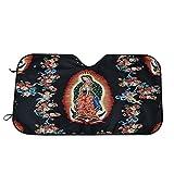 Nuestra Señora Guadalupe Mexican Saint Virgin Mary, parasol para parabrisas para coche, SUV, camión, reflector de rayos UV plegable para ventana frontal, 2 piezas de accesorios para automóviles