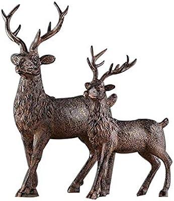 MKYXLN Wedding Gift Deer Statue Geometric Elk Sculpture White Blue Black Deer Figurines Ornaments