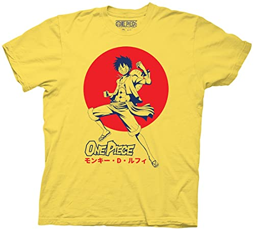Ripple Junction One Piece Adult Unisex Luffy D. Monkey Crew T-Shirt 2XL Yellow