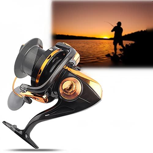 Dioche Carrete de Pesca de Fundición, 12 + 1BB Alta Velocidad Casting Metálico Spinning Sea Fishing Reel Wheel Tackle Accesorios(11000)