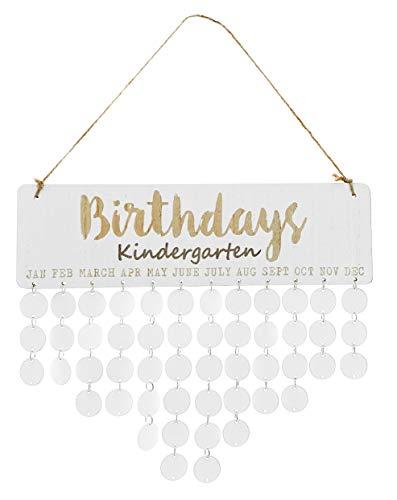 MIK Funshopping Immerwährender Geburtstagskalender Geburtstagsplaner aus Holz DIY Individuell beschriftbar weiß (Birthdays 'Kindergarten' mit 50 Holzscheiben)