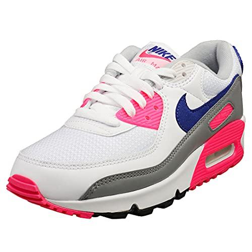 Nike Mujeres Air Max 90 WMNS CT1887 100 Laser Rosa - Talla, Blanco/Vast Grey-concord-pink B, 42.5 EU