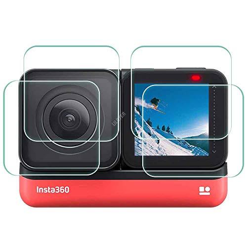 Pellicola proteggi schermo per Insta360 ONE R Twin Edition, set di 2 pellicole protettive per display LCD + obiettivo grandangolare 4K, durezza ULBTER 0,3 mm 9H, ultra trasparente in vetro temperato