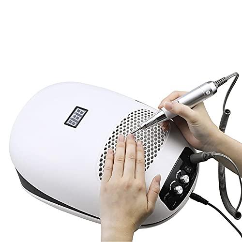 Pulidor de uñas 140 W 3 en 1 Aspirador de polvo de uñas y taladro de uñas Máquina de manicura y lámpara UV Extractor Ventilador para manicura Herramienta de uñas colector de polvo