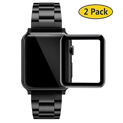 GeeRic 2PCS Pellicola Vetro Temperato Compatibile per Apple Watch 38mm Serie 1/Serie 2/Serie 3, HD Clear Resistente ai Urti Pellicola Protettiva Copertura Completa Compatibile per Apple iWatch 38 mm