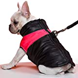 TFENG Hundemantel Hundejacke für Hunde, Warm Gepolstert Puffer Weste Welpen Regenmantel mit Fleece (Rot, M)