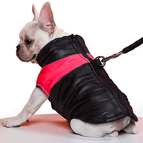 TFENG Hundemantel Hundejacke für Hunde, Warm gepolstert Puffer Weste Welpen Regenmantel mit Fleece (Rot, L)