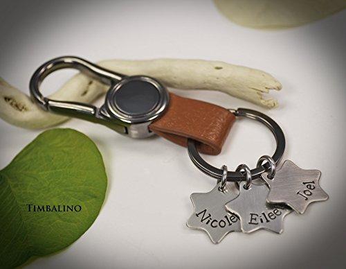 Schlüsselanhänger, Leder, Edelstahlanhänger mit Gravur