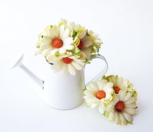 ICRAFY 30 große Gänseblümchen, weich, gelb, künstliche Maulbeer-Papierblumen, für Hochzeit, Scrapbook, Hochzeit