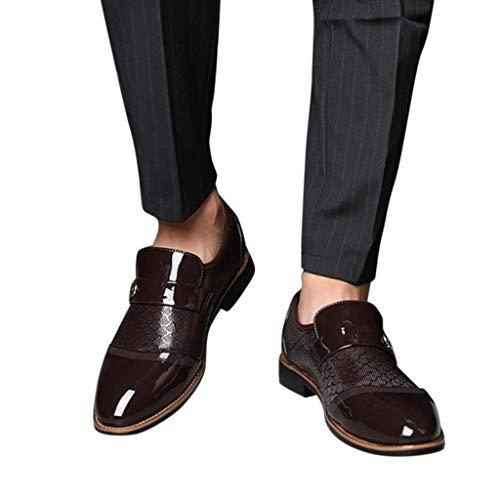 OHQ Zapatos De Cuero Oxford Hombre De Negocios Brogue Vestir Derby Boda...
