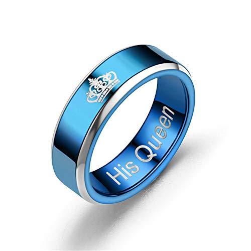 AieniD Anillo De Acero Inoxidable para Mujer Su Anillo De Reina De 8 MM con Patrón De Corona Azul para Hombres