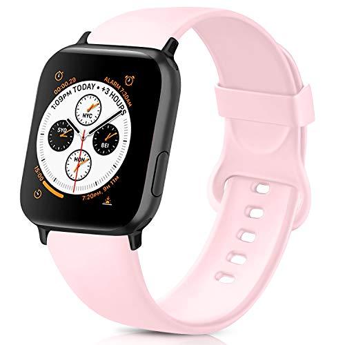 AK kompatibel mit Apple Watch Armband 42mm 38mm 44mm 40mm, Weiche Silikon Sport Ersatz Armband kompatibel iWatch Series 5, Series 4, Series 3, Series 2, Series 1 S/M M/L (Rosa, 42/44mm S/M)