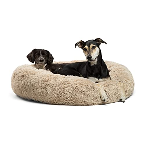 Best Friends by Sheri The Original Calming Donut Cat and Dog Bed in Shag Fur, Machine Washable, Removable Zippered Shell, for Pets up to 100 lbs - Large 36'x36' in Taupe