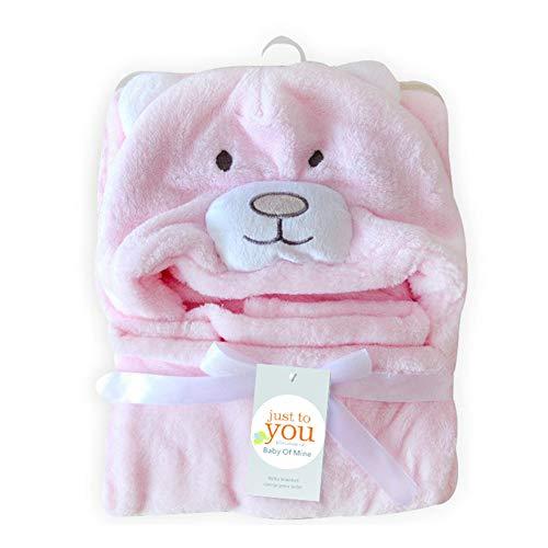 YMCHE Babyhandtuch mit Kapuze, Kapuzenhandtuch und Waschlappen Set, Kapuzenbadetuch mit Ohren für Babys, Pink-Bear, 39x39 inches