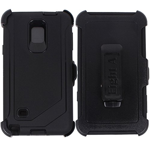 Heavy Duty Defender Impact Rugged with Built-in Screen Protector & Clip Case Cover for Samsung Galaxy Note 4 (Black)